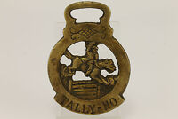 Vintage TALLY-HO Horseman Wall Hanging Brass Plaque
