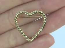 Vintage Estate Tiffany & Co 14K Yellow Gold Twisted Open Heart Pin Brooch