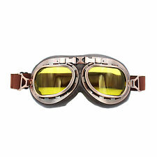 HOT Amber Lens Helmet Steampunk Copper Motorcycle Goggles Vintage Pilot ATV US