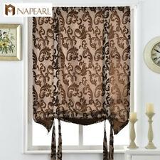 NAPEARL 1 Panel Rustic Jacuqard Roman Curtain Kitchen Decor Tie up Shades Drapes
