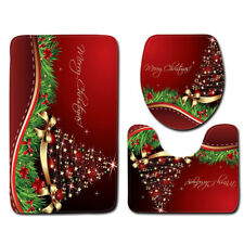 LE 3PCS/Set Christmas Bathroom Non-Slip Pedestal Rug+Lid Toilet Cover+Bath Mat