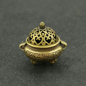 Chinese Antique Pure Copper Incense Burner Mini Brass Hollow Out Lid 3.5*4cm