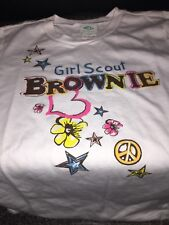 X Large Girls 18/20 Girl Scouts Brownie Symbols Long Sleeve Shirt HTF NWT