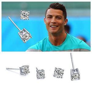 Men's/Boys Ronaldo: Silver Plated 6mm Designer Crystal Diamante Stud Earrings