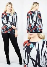 WOMENS LONG SLEEVE TOP FLORAL ROSE PRINT SWIRL ROUND NECK JUMPER PLUS SIZE 26