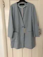 Zara Sky Blue Double Breasted Coat Blazer Jacket Size M
