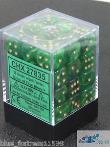 CHESSEX vortex 12mm SET OF 36 D6 GREEN WITH GOLD DICE FOR MTG POKEMON