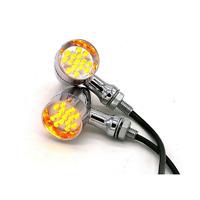 2X 12v universal Chrome Motorcycle LED Turn Signal indicator Light lamp 10mm