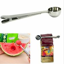 Silver With Tea Spoon Cooking Measuring Stainless Steel Coffee Spoon Seal Clip