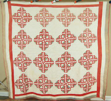 DAZZLING Vintage 1870's Red & Green Wild Goose Chase Crossroads Antique Quilt!
