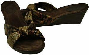 Nurture Cabot Women's Beige/Multi-Color Leather Open Toe Wedge Sandals sz 10