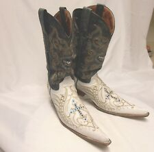 Mexican SOTO Men's Size 8.5-9 M Leather Rhinestone Extended Toe Cowboy Boots