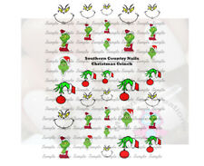 Christmas Grinch Design #8011 Nail Art Decals - Set of 30 decals
