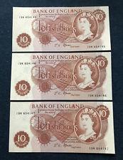 3 CONSECUTIVE BANK OF ENGLAND 10 SHILLING BANKNOTES 1967 19W654145/6/7