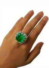 Green Cushion White Pear Halo CZ Fine Ring for Women 925 Sterling Silver- Size 7