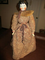 "1860s - 1880S CIVIL WAR & OLD WEST ERA  24""Tall CHINA HEAD DOLL W/ VINTAGE DRESS"
