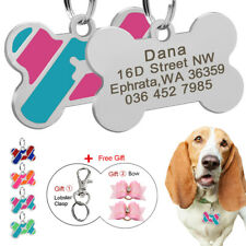 Bone Shaped Personalized Dog ID Tag Name Collar Tag Engraved Free with Hair Bows