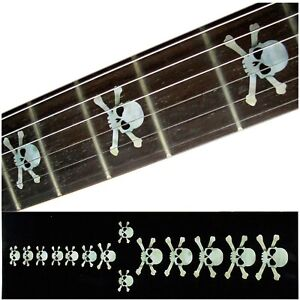 Fretboard Markers Inlay Stickers Decals for Guitars & Bass - Skulls - White