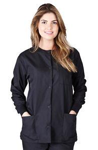 Medical Nursing Dental Long Sleeve Jackets Lab Coat Scrub Top Women Men Unisex