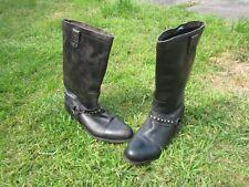 Size UK 5 Eu 38 H by Hudson Leather BLACK Western CALF Boots Cowboy/Biker/Grunge