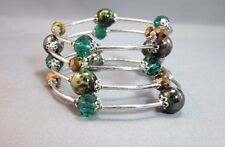 Memory wire silver tone 4 row bead bangle bracelet green
