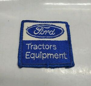 Vintage FORD Tractors Equipment Embroidered Patch Square Blue/White Used........
