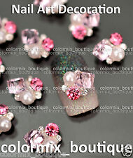 10pcs Nail Art Decoration Alloy Gem White Pearl Pink Glitter Rhinestone#CA134