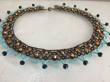 """Czech Glass Beaded Crochet Lace Collar Statement NECKLACE 22"""" Bronze, Turquoise"""