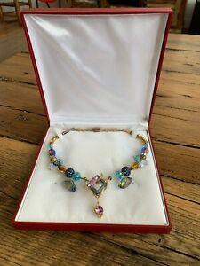 RARE ARTIST PEGGY GRAHAM HANDCRAFTED GLASS COLLAR NECKLACE PENDANT