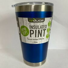 Reduce Vacuum Insulated Pint Cup Tumbler With Clear Lid 16OZ Blue READ