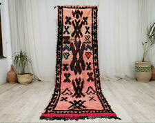 "Moroccan Vintage Handmade Runner 2'9""x9 Pink Brown Berber Abstract  Wool Carpet"