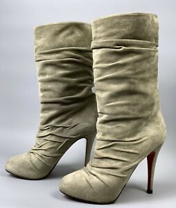 CHRISTIAN LOUBOUTIN Piros 120 Boots Size 37,5 Beige Folds Suede Calfskin Shoes