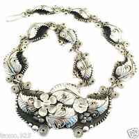 VINTAGE STYLE TAXCO MEXICAN 950 SILVER FLORAL FLOWER LEAF SCROLL NECKLACE MEXICO