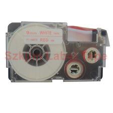 """Compatible Casio XR-9WER Red on White 9mm 8m Label Tape 3/8 x 26"""" KL430 XR-9WER1"""