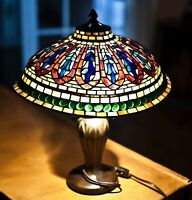 Vintage Tiffany Style Stained Glass Table Lamp Hand Made oval shell 18 Wide