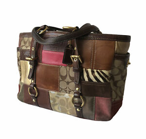 COACH Signature Holiday PATCHWORK Leather Suede Gallery Shoulder Purse Bag