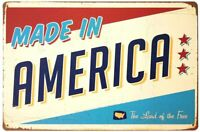 """Made in America Retro Vintage Tin Sign 12"""" x 8"""""""