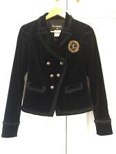 Chanel Noir Veste De Velours Avec or ornée badge Fr38 UK 10