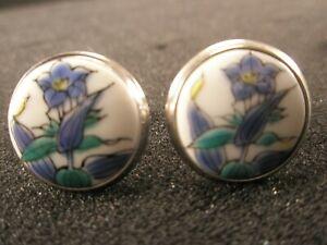 -Flowers Floral Ceramic & Silver Vintage Cuff Links