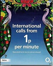 £10 POUNDS PRELOADED O2 PAY AS YOU GO INTERNATIONAL SIM CARD WITH £10 CREDIT
