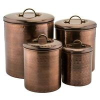 4-Piece Hammered Antique Canister Set Copper Plated Stainless Steel Construction