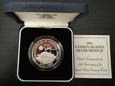 CAYMAN ISLANDS RARE SILVER PROOF 5$ COIN 1991 YEAR KM#109 SHIP 20th CURRENCY+COA