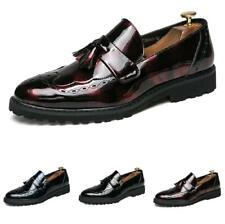 Men Fashion Faux Leather Business Shoes Pointy Toe Oxfords Tassels Shiny Party L