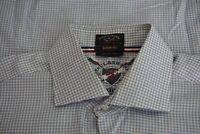 Paul & Shark Oxford Shark Fit Blue White Gingham  Cotton Button Up Shirt Sz 42
