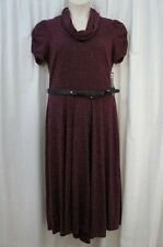 Signature by Robbie Bee Dress Sz L Wine Red Cowl Neck Belted Waist Casual dress