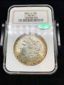 1884 O Morgan Silver Dollar NGC MS64 CAC - Old Holder- Toned