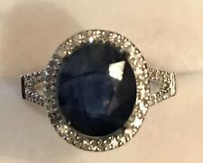 4.09CT NATURAL BLUE SAPPHIRE AND DIAMOND RING IN 14K WHITE GOLD NICE!