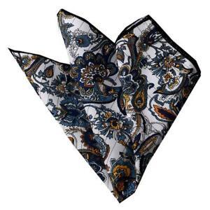 Celino White Blue Black Pattern Pocket Square for Men Silk Handkerchief for Suit