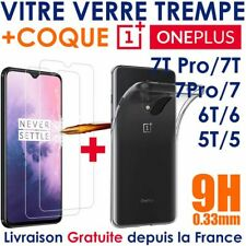 Pack Verre Trempé Transparent OnePlus 5T 6 T 7T Pro 7 + Coque Silicone One Plus