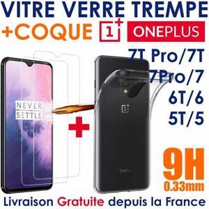 Pack Verre Trempé Transparent OnePlus 5T 6 T 7T Pro 7 + Coque Silicone One Plus
